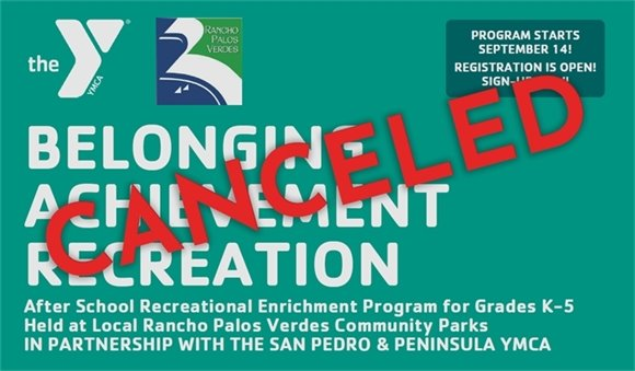 Outdoor Recreational Programming Canceled