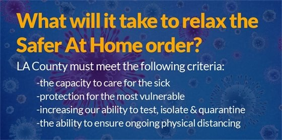 What will it Take to Relax the Safer At Home Order?