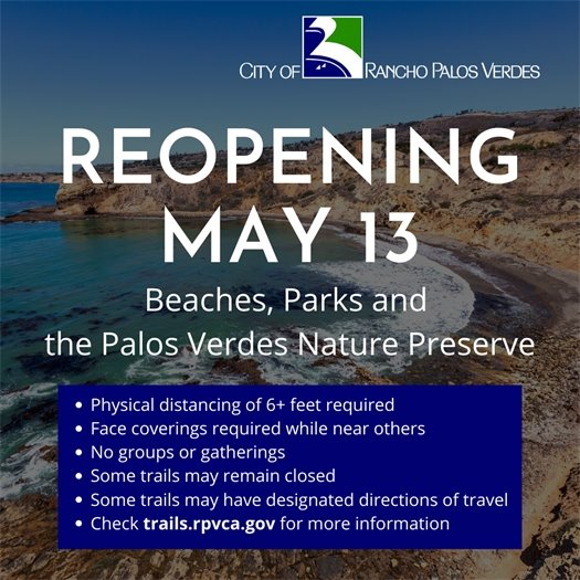 RPV Beaches, Parks and Trails to Reopen May 13