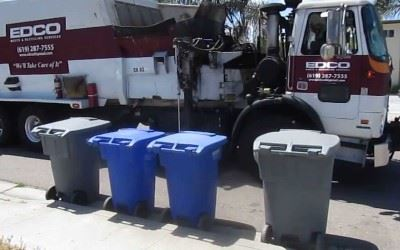 EDCO trash cans and truck