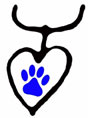 Drawing of heart with blue dog paw in center