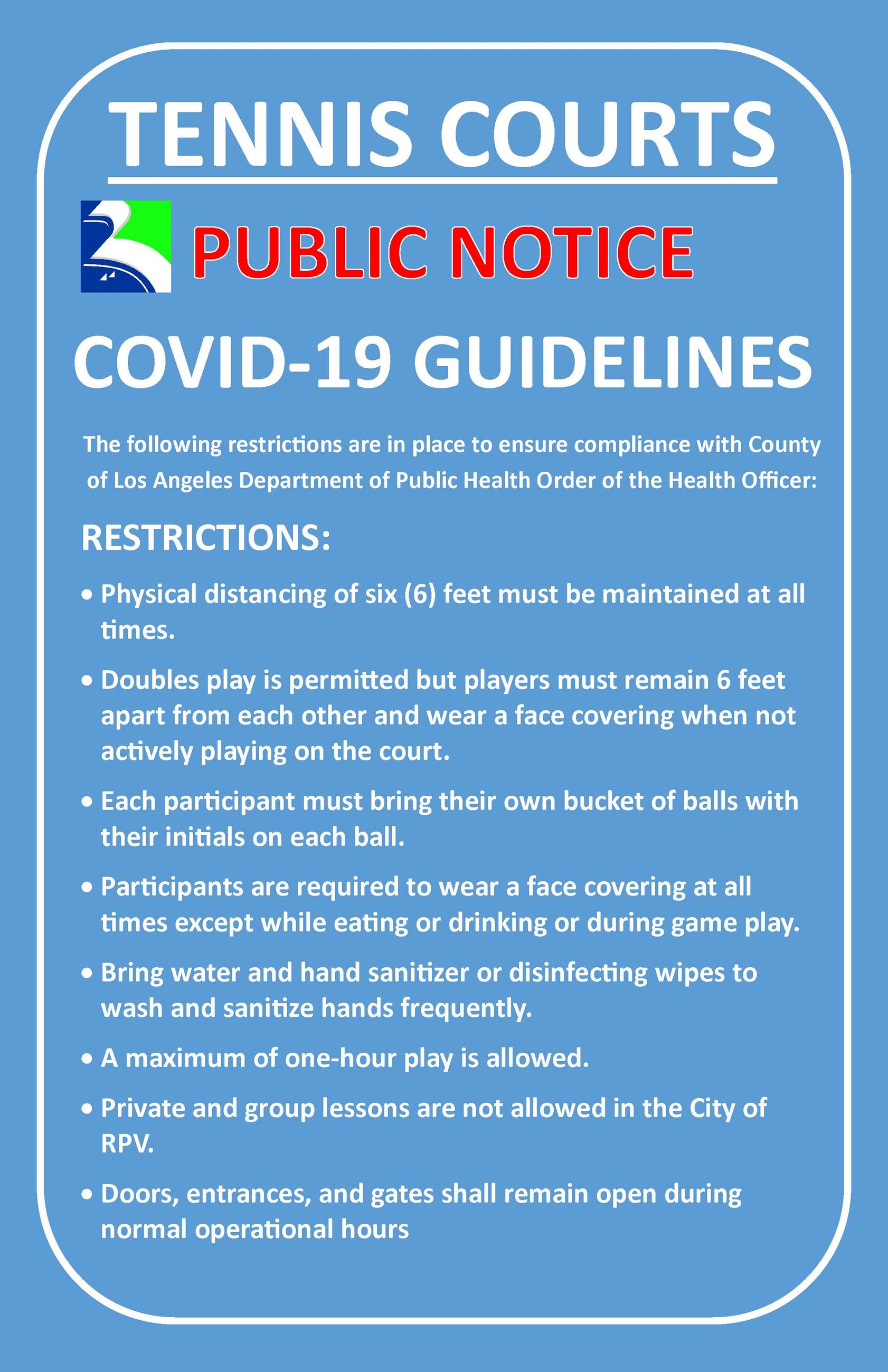 Tennis Sign New Covid Restrictions 2.5.2021