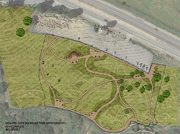 Drawing of Abalone Cove Shoreline Park improvements on aerial satellite image